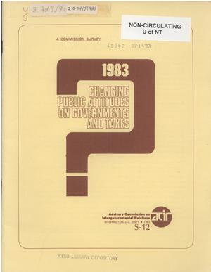 Primary view of object titled 'Changing public attitudes on governments and taxes, 1983'.