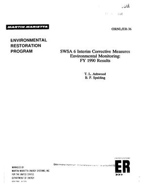 Primary view of object titled 'SWSA 6 interim corrective measures environmental monitoring: FY 1990 results'.