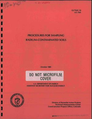Primary view of object titled 'Procedures for sampling radium-contaminated soils'.