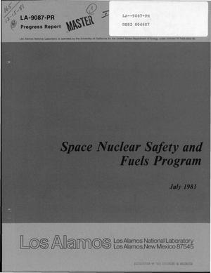 Primary view of object titled 'Space nuclear safety and fuels program. Progress report, July 1981'.