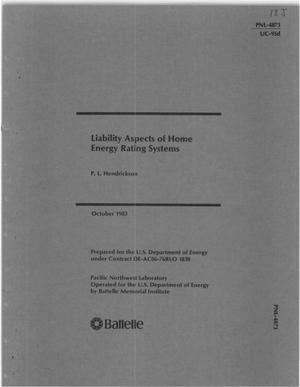 Primary view of object titled 'Liability aspects of home energy-rating systems'.