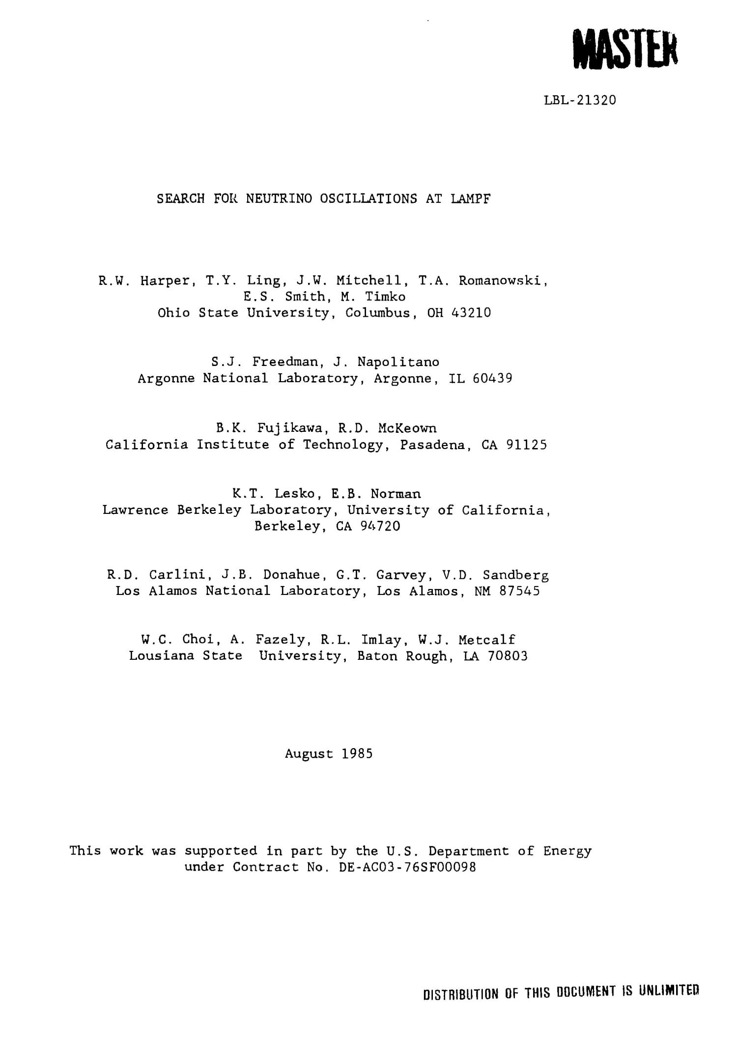 Search for neutrino oscillations at LAMPF                                                                                                      [Sequence #]: 3 of 10