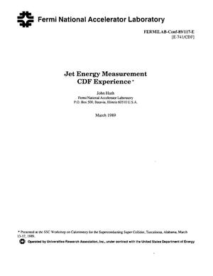 Primary view of object titled 'Jet energy measurement CDF experience'.