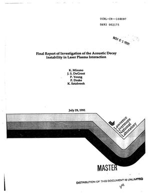 Primary view of object titled 'Final report of investigation of the Acoustic Decay Instability in laser plasma interaction'.