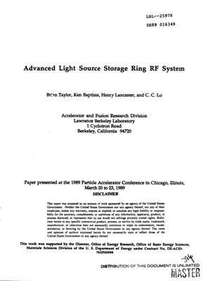 Primary view of object titled 'Advanced light source storage ring rf system'.