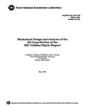 Primary view of object titled 'Mechanical design and analysis of the 2D cross-section of the SSC collider dipole magnet'.