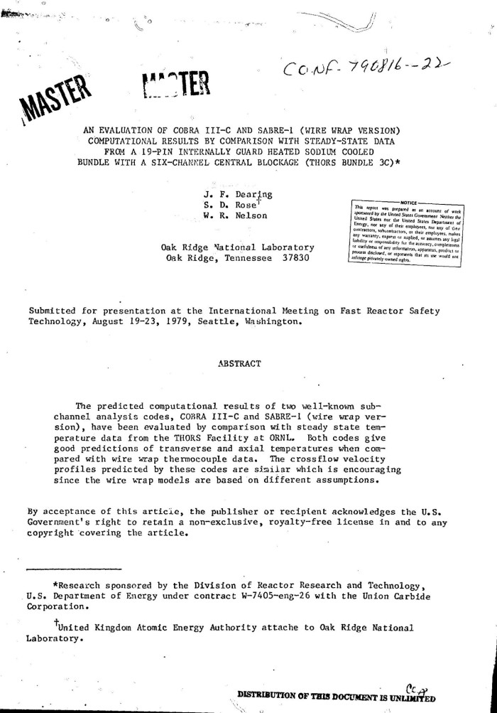 Evaluation of COBRA III-C and SABRE-I (wire wrap version ...