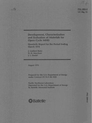 Primary view of object titled 'Development, characterization and evaluation of materials for open cycle MHD. Quarterly report, March 1978'.