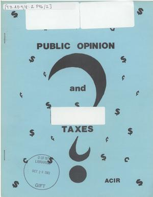 Primary view of object titled 'Public opinion and taxes'.