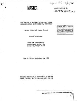 Primary view of object titled 'Exploration of volcanic geothermal energy resources based on rheological techniques. Second technical status report, June 1, 1978--September 30, 1978'.
