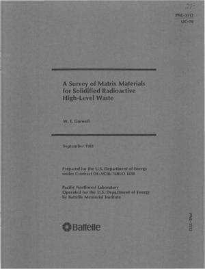 Primary view of object titled 'Survey of matrix materials for solidified radioactive high-level waste'.