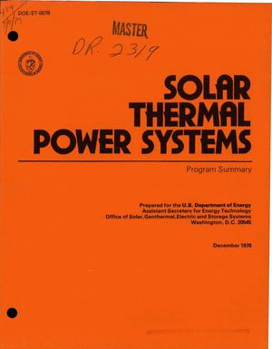 Primary view of object titled 'Solar thermal power systems. Program summary'.
