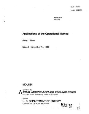 Primary view of object titled 'Applications of the operational method'.