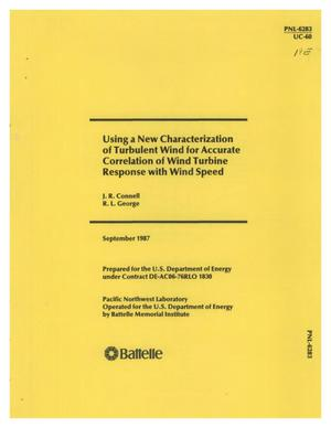 Primary view of object titled 'Using a new characterization of turbulent wind for accurate correlation of wind turbine response with wind speed'.