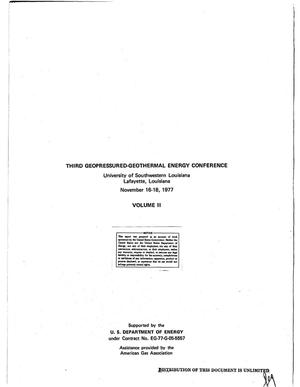 Primary view of object titled 'Third geopressured-geothermal energy conference.Vol 2'.