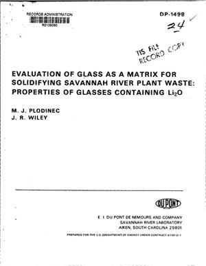 Primary view of object titled 'Evaluation of glass as a matrix for solidifying Savannah River Plant waste: properties of glasses containing Li/sub 2/O'.