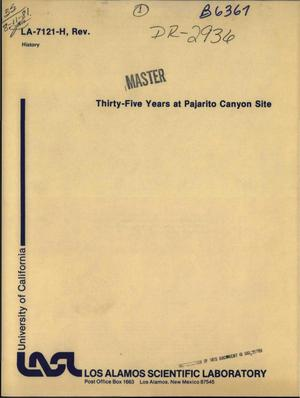 Primary view of object titled 'Thirty-five years at Pajarito Canyon Site'.