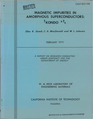 Primary view of object titled 'Magnetic impurities in amorphous superconductors: T/sub KONDO/ > T/sub c/'.