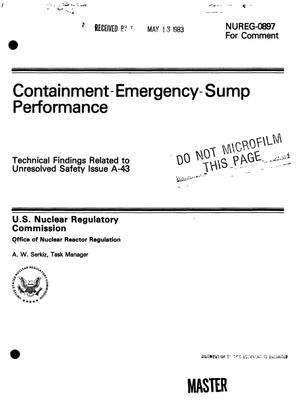 Primary view of object titled 'Containment-emergency-sump performance. Technical findings related to Unresolved Safety Issue A-43. [PWR]'.