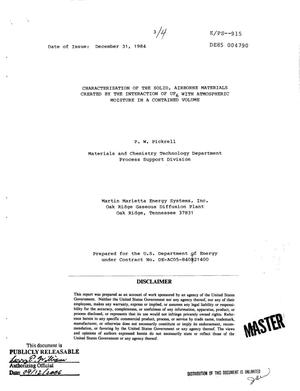 Primary view of object titled 'Characterization of the solid, airborne materials created by the interaction of UF/sub 6/ with atmospheric moisture in a contained volume'.