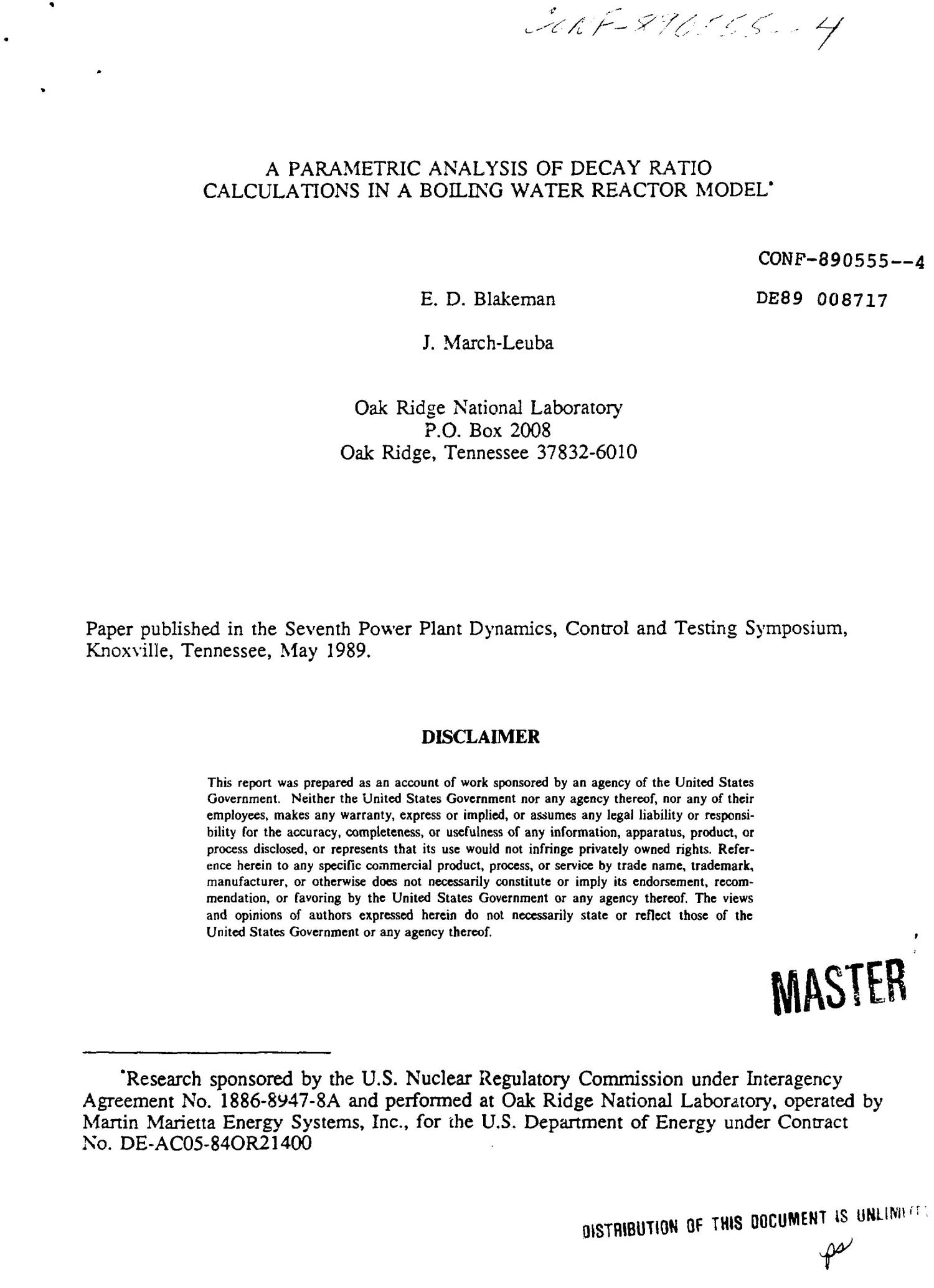 A Parametric Analysis Of Decay Ratio Calculations In Boiling Water Power Plant Diagram Reactor Model Digital Library