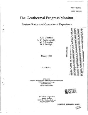 Primary view of object titled 'Geothermal Progress Monitor: system status and operational experience'.