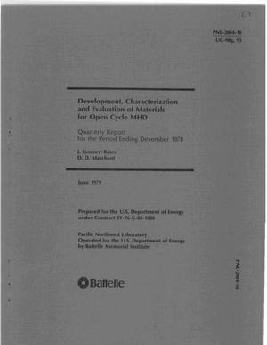 Primary view of object titled 'Development, characterization and evaluation of materials for open cycle MHD. Quarterly report for the period ending December 1978'.