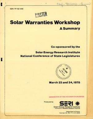 Primary view of object titled 'Solar warranties workshop: a summary, March 23 and 24, 1978'.