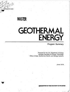Primary view of object titled 'Geothermal energy. Program summary'.