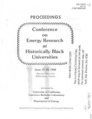 Primary view of object titled 'Conference on energy research at historically black universities'.