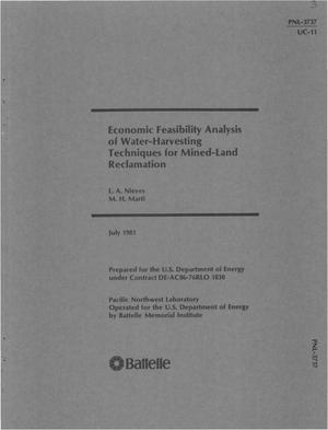 Primary view of object titled 'Economic feasibility analysis of water-harvesting techniques for mined-land reclamation'.