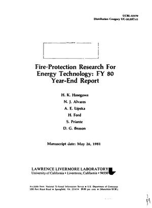 Primary view of object titled 'Fire-protection research for energy technology: FY 80 year-end report. [For fusion energy experiments and other energy research]'.