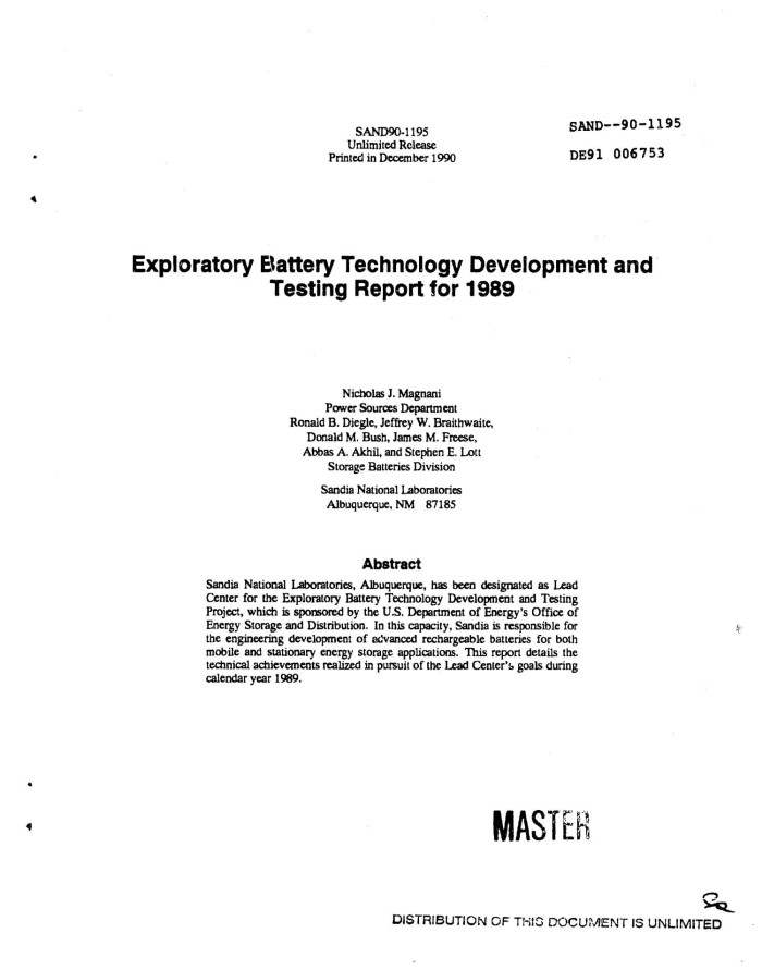 Exploratory Battery Technology Development and Testing Report for