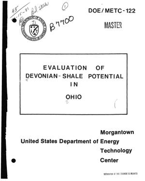 Primary view of object titled 'Evaluation of Devonian-shale potential in Ohio'.