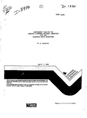 Primary view of object titled 'Contingency plan for the Lawrence Livermore National Laboratory, Site 300, hazardous waste operations'.