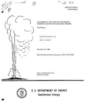 Primary view of object titled 'Feasibility analysis of geothermal district heating for Lakeview, Oregon'.