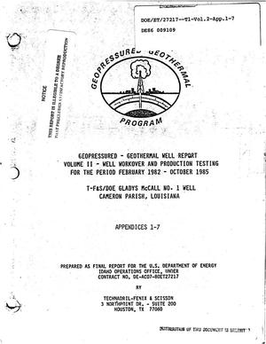 Primary view of object titled 'T-F and S/DOE Gladys McCall No. 1 well, Cameron Parish, Louisiana. Geopressured-geothermal well report, Volume II. Well workover and production testing, February 1982-October 1985. Final report. Appendices 1-7'.