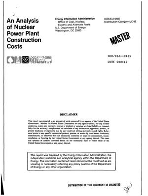 Primary view of object titled 'Analysis of nuclear power plant construction costs'.