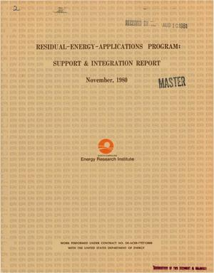 Primary view of object titled 'Residual-energy-applications program: support and integration report'.