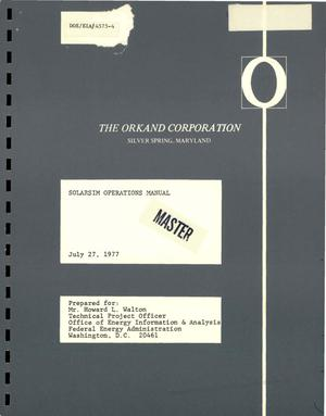 Primary view of object titled 'SOLARSIM operations manual'.