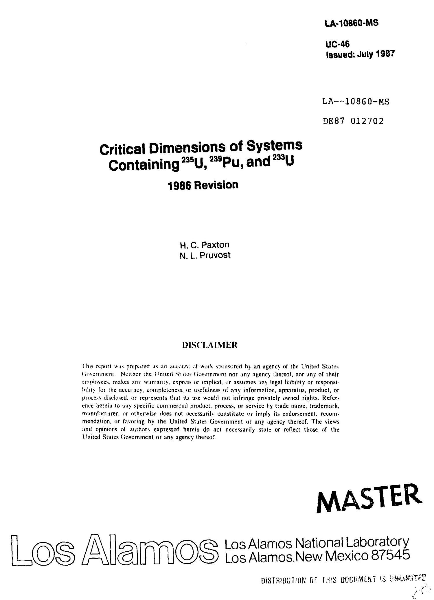 Critical dimensions of systems containing /sup 235/U, /sup 239/Pu, and /sup 233/U: 1986 Revision                                                                                                      [Sequence #]: 1 of 205