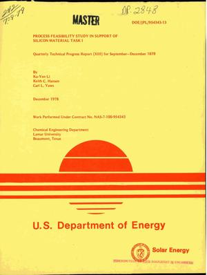Primary view of object titled 'Process feasibility study in support of silicon material task 1. Quarterly technical progress report (XIII), September--December 1978'.