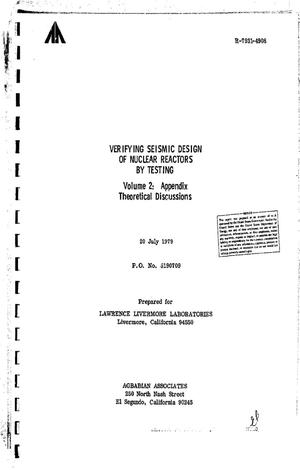 Primary view of object titled 'Verifying seismic design of nuclear reactors by testing. Volume 2: appendix, theoretical discussions'.
