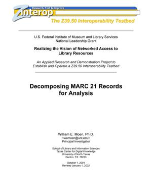 Decomposing MARC 21 Records for Analysis