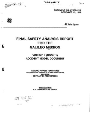Primary view of object titled 'Final safety analysis report for the Galileo Mission: Volume 2: Book 1, Accident model document'.