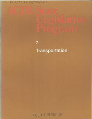 Primary view of object titled 'ACIR state legislative program : 7. Transportation'.