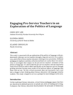 Primary view of object titled 'Engaging Pre-Service Teachers in an Exploration of the Politics of Language'.