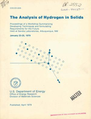 Primary view of object titled 'Analysis of hydrogen in solids'.
