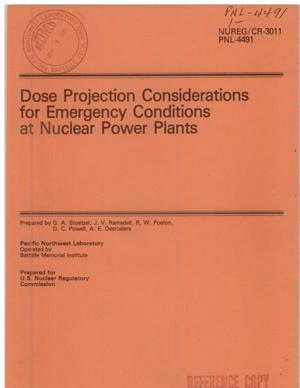Primary view of object titled 'Dose-projection considerations for emergency conditions at nuclear power plants'.