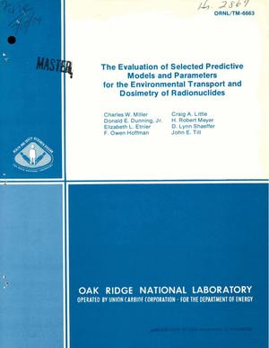 Primary view of object titled 'Evaluation of selected predictive models and parameters for the environmental transport and dosimetry of radionuclides'.